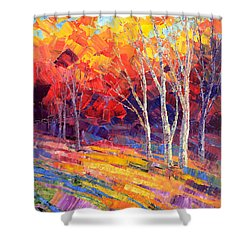Shower Curtain featuring the painting Sunlit Shadows by Tatiana Iliina