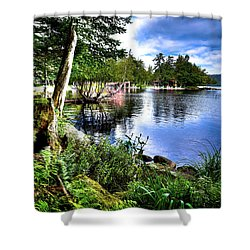Shower Curtain featuring the photograph Sunlit Shore At Covewood by David Patterson
