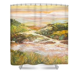 Sunlit Stream Shower Curtain by Glory Wood