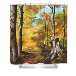 Sunlit Tree Trunk Shower Curtain