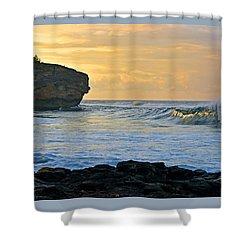 Sunlit Waves - Kauai Dawn Shower Curtain by Marie Hicks