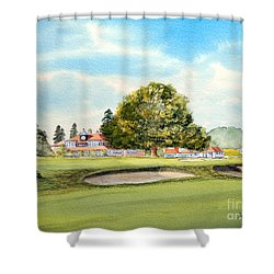 Shower Curtain featuring the painting Sunningdale Golf Course 18th Green by Bill Holkham
