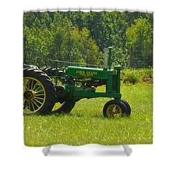 Sunny And Green Shower Curtain by JD Grimes