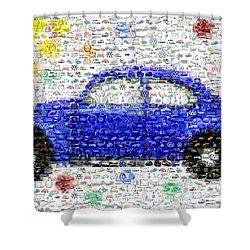 Sunny Blue Vw Bug Mosaic Shower Curtain by Paul Van Scott
