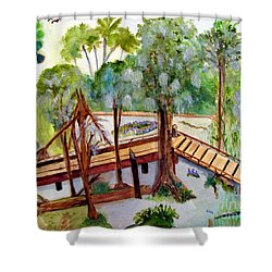 Shower Curtain featuring the painting Sunny Day In Central Florida by Sandy McIntire