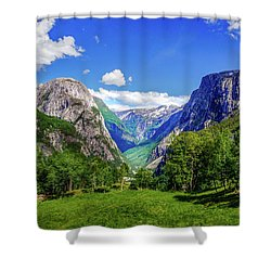 Shower Curtain featuring the photograph Sunny Day In Naroydalen Valley by Dmytro Korol