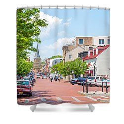 Shower Curtain featuring the photograph Sunny Day On Main by Charles Kraus