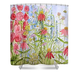Shower Curtain featuring the painting Sunny Days by Laurie Rohner