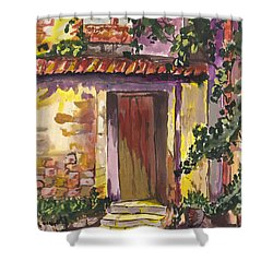 Shower Curtain featuring the digital art Sunny Doorway by Darren Cannell