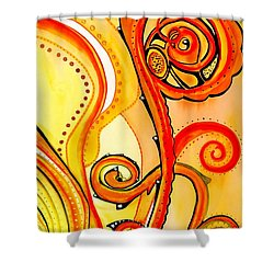 Shower Curtain featuring the painting Sunny Flower - Art By Dora Hathazi Mendes by Dora Hathazi Mendes