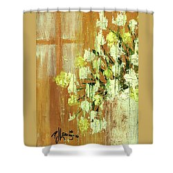 Sunny Flowers Shower Curtain by P J Lewis