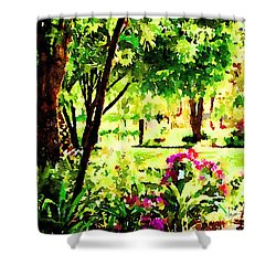 Shower Curtain featuring the painting Sunny Hangout by Angela Treat Lyon