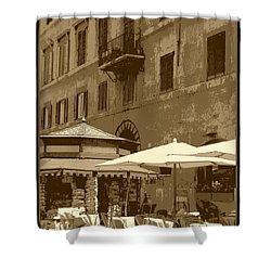 Sunny Italian Cafe - Sepia Shower Curtain by Carol Groenen