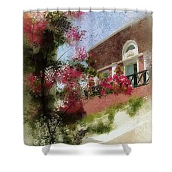 Shower Curtain featuring the photograph Sunny Santorini by Lois Bryan