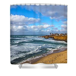 Sunny Sunset Cliffs Shower Curtain by Peter Tellone