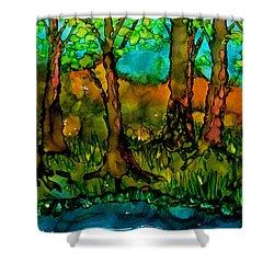 Sunny Trees Shower Curtain by Angela Treat Lyon