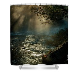 Sunrays At Fork River Shower Curtain by Iris Greenwell