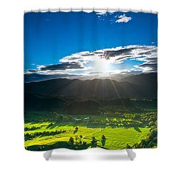 Sunrays Flood Farmland During Sunset Shower Curtain by Ulrich Schade