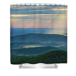 Shower Curtain featuring the photograph Sunrays Over The Blue Ridge Mountains by Lori Coleman