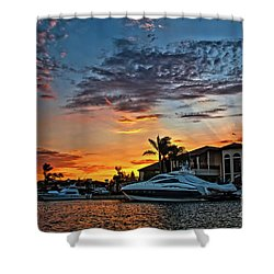 Sunrays Sunset Over Huntington Harbour Shower Curtain by Peter Dang