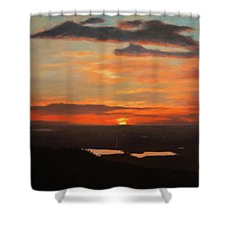 Sunrise Above Boulder Shower Curtain