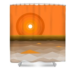 Sunrise Abstract In Orange Shower Curtain