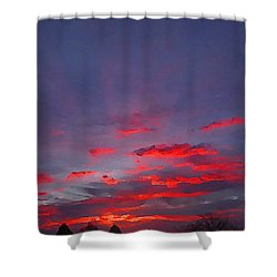 Sunrise Abstract, Red Oklahoma Morning Shower Curtain