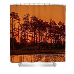 Sunrise Along A Tree Line Shower Curtain