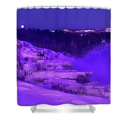 Shower Curtain featuring the photograph Sunrise And Moonset Over Minerva Springs Yellowstone National Park by Dave Welling