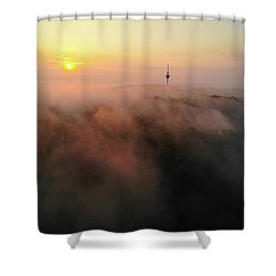 Shower Curtain featuring the photograph Sunrise And Morning Fog Warm Orange Light by Matthias Hauser