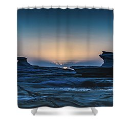 Sunrise And Rock Platform Landscape Shower Curtain