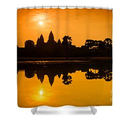 Shower Curtain featuring the photograph Sunrise At Angkor Wat by Yew Kwang