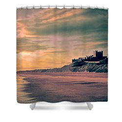 Shower Curtain featuring the photograph Sunrise At Bamburgh Castle by Brian Tarr