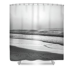 Shower Curtain featuring the photograph Sunrise At Beach Black And White  by John McGraw