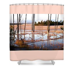 Sunrise At Fountain Paint Pots, Yellowstone National Park, Usa Shower Curtain
