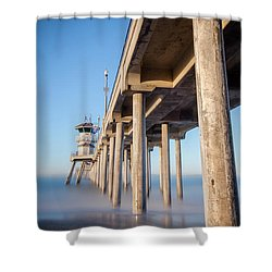 Shower Curtain featuring the photograph Sunrise At Huntington Beach Pier by Sean Foster