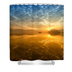 Shower Curtain featuring the photograph Sunrise At Jal Mahal by Yew Kwang