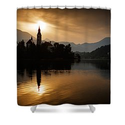 Sunrise At Lake Bled Shower Curtain by Ian Middleton