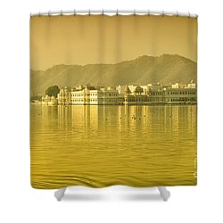 Shower Curtain featuring the photograph Sunrise At Pichola Lake Palace by Yew Kwang