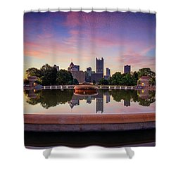 Shower Curtain featuring the photograph Sunrise At Point State Park by Emmanuel Panagiotakis