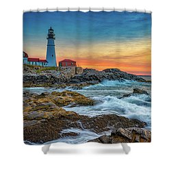 Sunrise At Portland Head Light Shower Curtain by Rick Berk