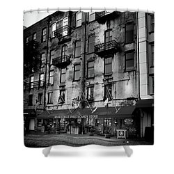 Sunrise At River Street Sweets In Black And White Shower Curtain