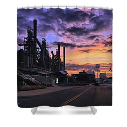 Shower Curtain featuring the photograph Sunrise At Steelstacks by DJ Florek