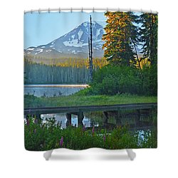 Sunrise At Takhlakh Lake Under Mt Adams Shower Curtain