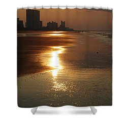 Sunrise At The Beach Shower Curtain by Eric Liller