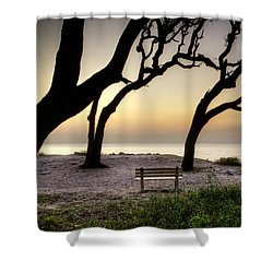 Sunrise At The Bench Shower Curtain