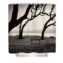Sunrise At The Bench In Black And White Shower Curtain by Greg Mimbs
