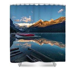 Sunrise At The Canoe Shack Of Lake Louise Shower Curtain
