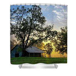 Shower Curtain featuring the photograph Sunrise At The Farm by George Randy Bass