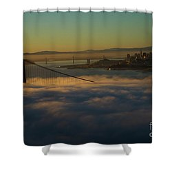 Shower Curtain featuring the photograph Sunrise At The Golden Gate by David Bearden